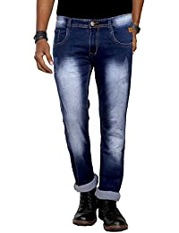 Jugend Light Blue Light Distressed Stretchable Regular Fit Jeans For Men