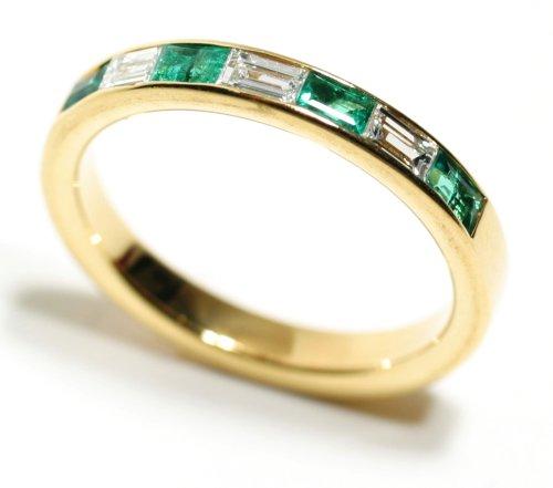 Gold Wedding Bands Baguette Emerald and Diamond Channel Set Half