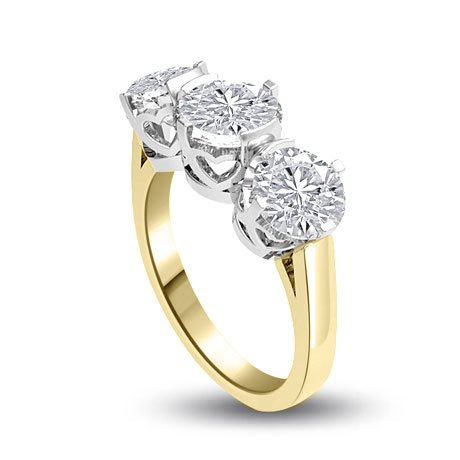 0.60 carat 3 Diamond Trilogy Promise Ring for Women. H/SI1 Round Brilliant Diamond in 18ct Yellow & White Gold