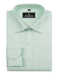 Basil Men's Cotton Blend Formal Shirt (BA380PFF51FSF-42, Green, 42)