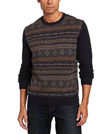 Alex Cannon Men's Autumnal Fairisle Sweater, Submarine Heather, Small