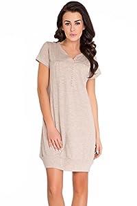 dn-nightwear - Camisón, tm. 5009, beige oscuro, tamaño s
