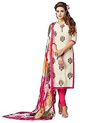 INDIA FASHION SHOP CREAM PINK PRINTED WORK CHANDERI COTTON UN-STITCHED DRESS