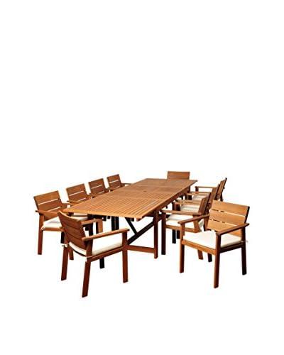 Amazonia Colony 11-Piece Eucalyptus Extendable Rectangular Dining Set, Brown
