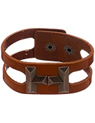 Voylla Rustic Finish Brown Faux Leather Masculine Bracelet