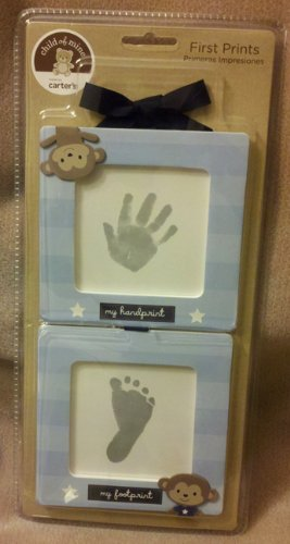 Carter's Child of Mine First Prints Kit Handprint Footprint 2 Blue Frames Monkeys - 1