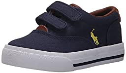 Polo Ralph Lauren Kids Vaughn II EZ Fashion Sneaker (Toddler), Navy Canvas, 8 M US Toddler