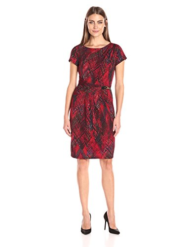 Ellen Tracy Womens Short Sleeve Printed Jersey Dress