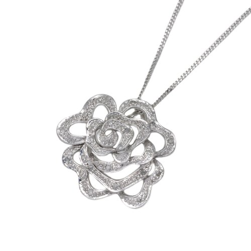 9ct White Gold 0.10 ct Diamond Rose Pendant 46cm Chain