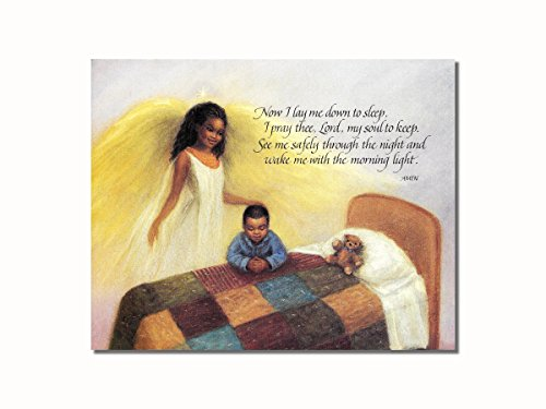 African American Black Guardian Angel Boy Praying Lord's Prayer Wall Picture 8x10 Art Print (African American Pictures compare prices)