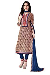 Justkartit Women's Multi-Coloured Beautiful Printed + Embroidery Cotton Salwar Kameez / Party Wear Sober Salwar Kameez / Work Wear Casual Salwar Suit (Office Wear & Casual Wear Collection 2016)