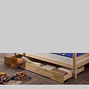 tiroir de rangement sous lit max en pin vernis naturel cuisine maison. Black Bedroom Furniture Sets. Home Design Ideas