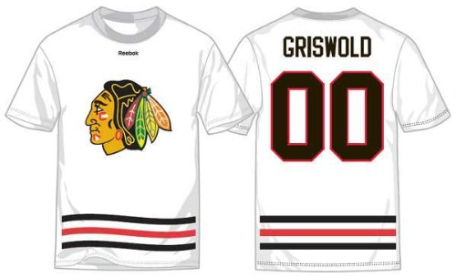 National Lampoon's Christmas Vacation Clark Griswold Replica Chicago Blackhawks T-Shirt Jersey Size LARGE Exclusive