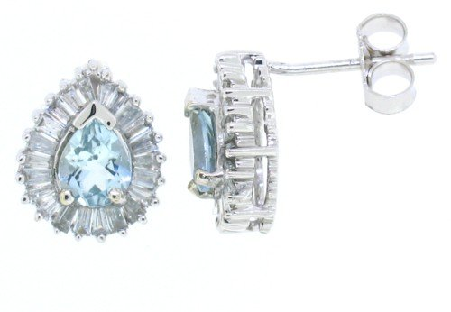 0.56Ct Pear Shaped Aquamarine Earrings with Diamonds in 14Kt White Gold