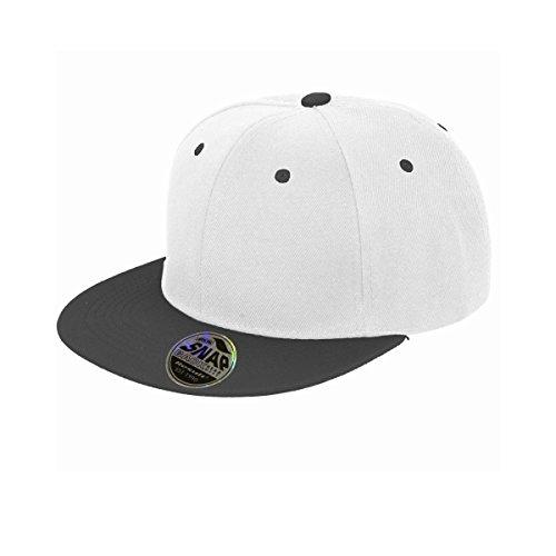 Result - Cappellino Visiera Piatta Bi-Colore - Adulto Unisex (Taglia unica) (Bianco/Nero)