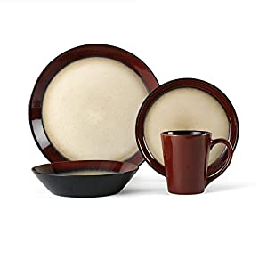 Pfaltzgraff everyday aria red 48 piece - Black and red dinnerware sets ...