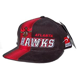 Vintage Atlanta Hawks Snap Back Hat Cap - Black Red by NBA