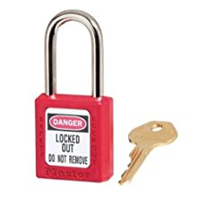"Master Lock 410 Series Zenex Lockout/Tagout Padlock, Keyed Different, 1-3/4"" Body Length, 1-1/2"" Shackle Clearance"