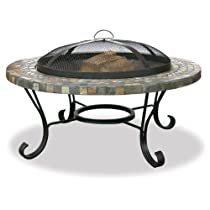 Image of Slate/Tile Outdoor Firebowl with Copper Accents