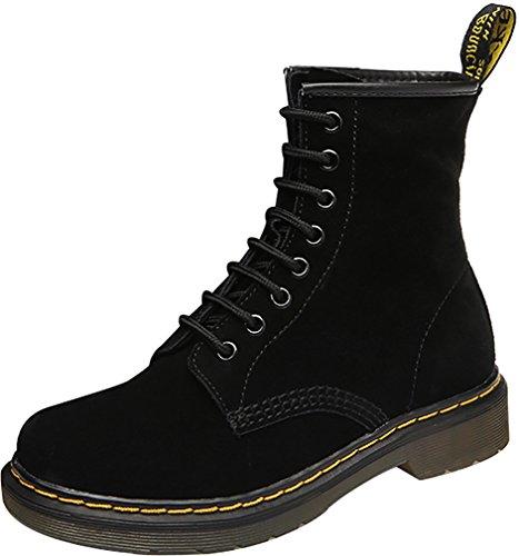 ELEHOT Donna EMARTIN tacco a blocco 3CM Leather Stivali, nero FA, 39