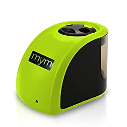 Electric Pencil Sharpener with 2 Different Sizes of Holes. (Green)