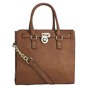 MKF Collection Pad-Lock Designer Shoulder Handbag - Cognac Brown