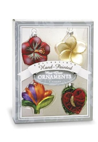 Island Heritage 4-Pack Holiday Flowers Tree Collectible Glass Ornaments, Mini