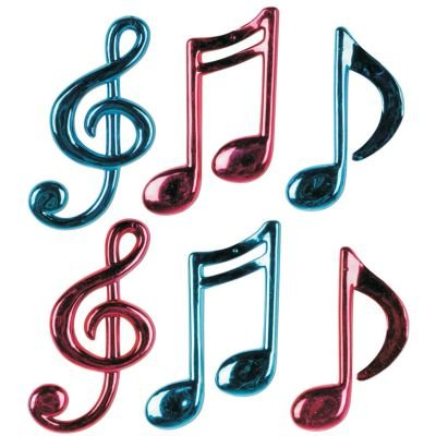 Molded Plastic Musical Notes (asstd cerise & turquoise) Party Accessory  (1 count) (6/Pkg)