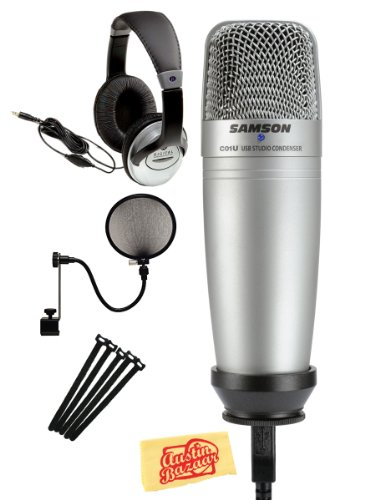 Samson C01U Usb Studio Condenser Microphone Bundle With Pop Filter, Stereo Headphones, Velcro Straps, And Polishing Cloth