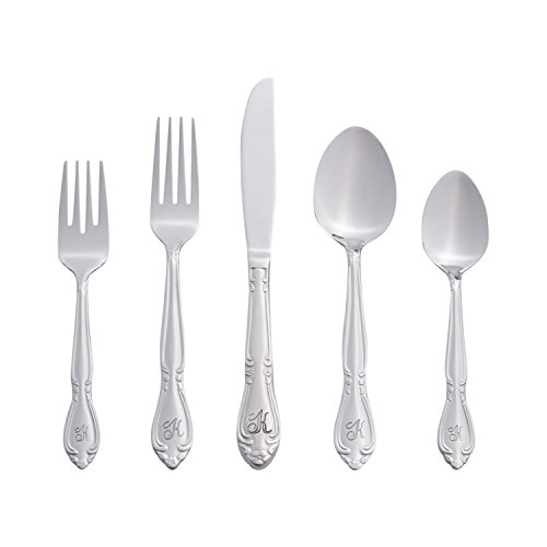 RiverRidge Home Products Rose Monogrammed 46-Piece Flatware Set, Service for 8, K (Service Silverware compare prices)