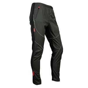 SANTIC サンティック サイクリング フリース サーマル ウインド パンツ 冬 パンツ タイツ ジェームス ブラック (M)