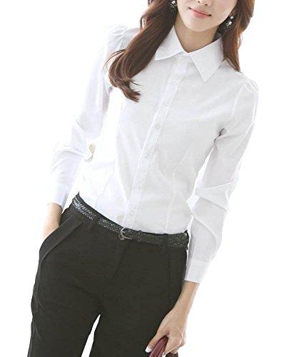 [ルガルデ] Regarder レディース 長袖 ブラウス シャツ フォーマル ビジネス 清楚 白 ホワイト 各種 サイズ S M L XL (04XL)