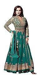 Diya Mirza Green Colored Georgette Anarkali Suit
