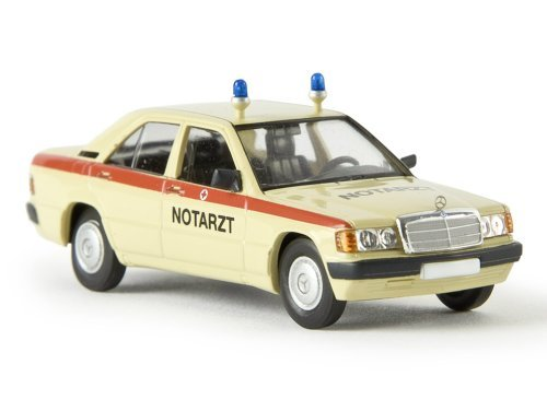 Mercedes 190 E (W201), Notarzt, Modellauto, Fertigmodell, Brekina Starmada 1:87
