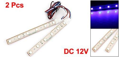 2 Pcs 13cm Ruban adhésif 6 Bleu 5050 SMD LED voiture décoratifs Lampe Strap