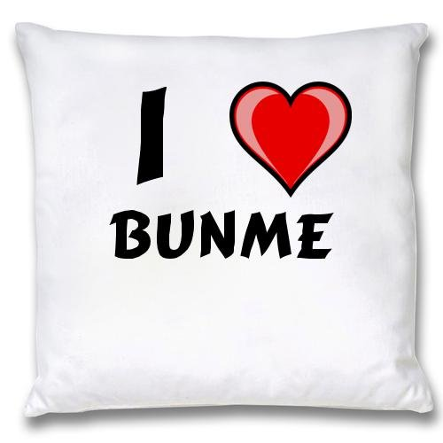 White Cushion Cover with I Love Bunme (first name/surname/nickname) carabiner flashlight with text jennyfer first name surname nickname