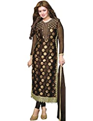 Exotic India Ayesha Long Kameez Choodidaar Suit With Embroidered Bootis And Croc