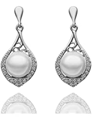 Silver Shoppee Angelic Rhodium Plated Cubic Zirconia And Pearl Studded Alloy Earrings
