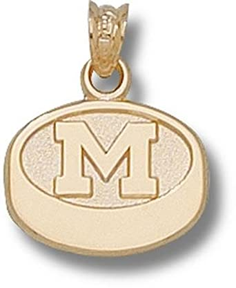 Michigan Wolverines M Hockey Puck 7 16 Pendant - 14KT Gold Jewelry by Logo Art