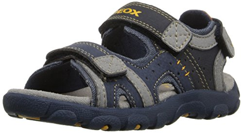 Geox J Strada 14 Sandal (Toddler/Little Kid/Big Kid), Navy/Grey, 28 EU (10.5 M US Little Kid)