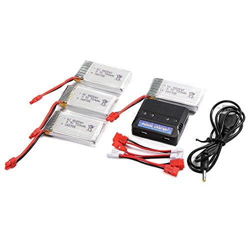 XCSOURCE 4pcs Lipo Batterie 3.7V 720mAh 25C + Chargeur Batterie 4 en 1 Pour Syma X5HC X5HW Quadcopter BC595