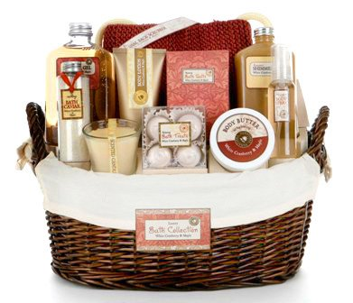 Valentines Day Gift Idea for Her - Cranberry Maple Scented Bath and Body Spa Basket for Women
