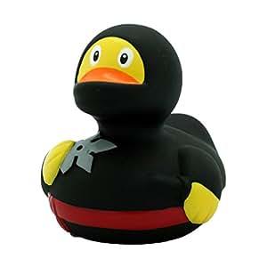 Badeente Quietscheente Ninja schwarz * Ente mit Wurfstern