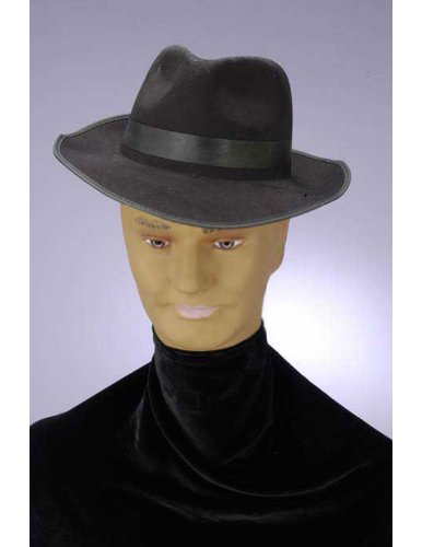 Costume-Hat Gangster Hat Black Flocked Halloween Costume - One Size Fits Most