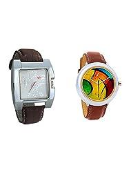 Gledati Men's White Dial & Foster's Women's Multicolour Dial Analog Watch Combo_ADCOMB0002283