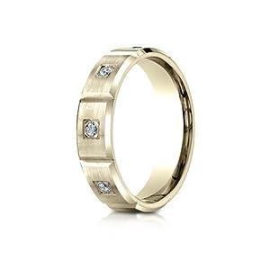 IceCarats Designer Jewelry 18K Yellow Gold 6Mm Comfort-Fit Burnish Set 6-Stone Diamond Eternity Ring (.32Ct) Size 7