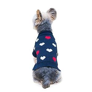 Stinky G Navy Blue Mini Heart Pet Sweater Medium #12