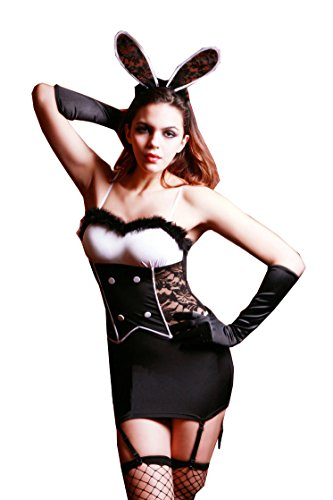 Women's Sexy Lingerie Plush Lace Bunny Girl Outfit Mini Dress Slim White Black