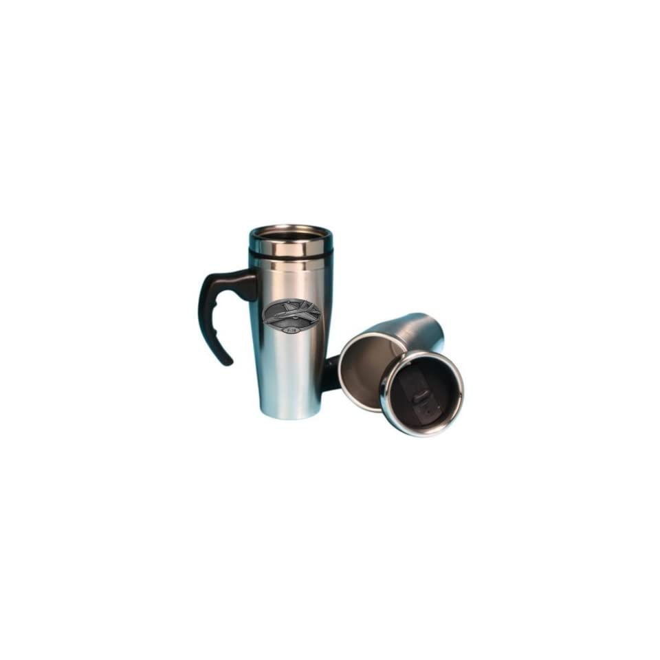 F 18 Pewter Crest on a Stainless Steel Double Wall Travel Mug with Handle