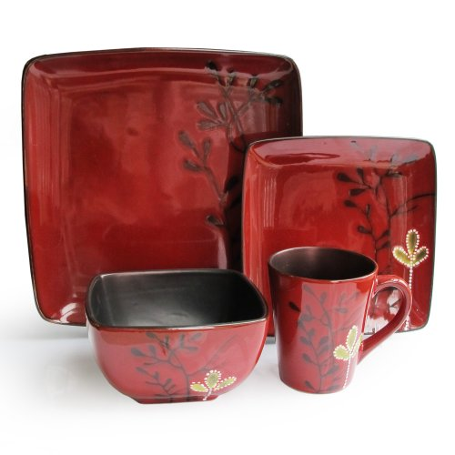Elise 16-Piece Reactive Dinnerware Set, Red